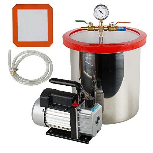 5 Gallon Vacuum Chamber,Fencia Heavy Duty 5 Gallon Stainless Steel Vacuum Degassing Chamber Kit w/3 CFM Pump Hose (Shipping from USA)