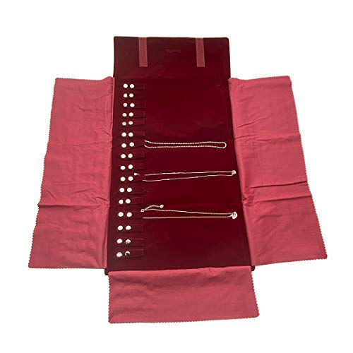 UnionPlus Large Travel Jewelry Case Roll Bag Organizer for Necklace Bracelet Earrings Ring Burgundy Large Burgundy Necklaces Only