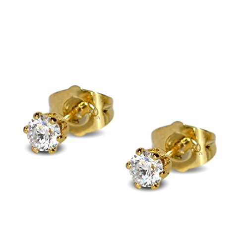 Blue Diamond Club 18ct Gold Filled Womens Stud Earrings Girls Round 4mm White Crystals 6 Claws