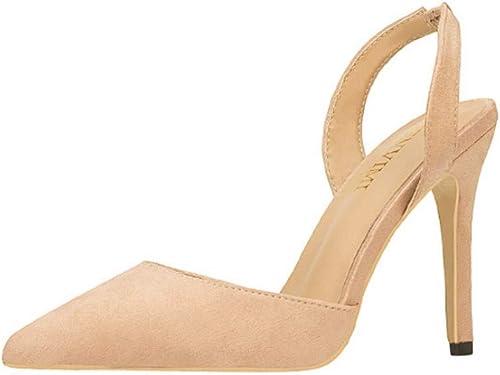 Chaussures pour pour Femmes Simples, Talons Hauts, Couleur Unie, Daim Jaune, Bouche Légère, Sandales à La Mode  nous fournissons le meilleur
