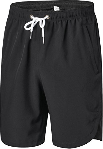 Luffy Mens Athletic Gym Shorts Elastic Waist - Quick Dry Stretchable for Running, Training, Workout Swim Trunks for Watersports(XXXL, Black)