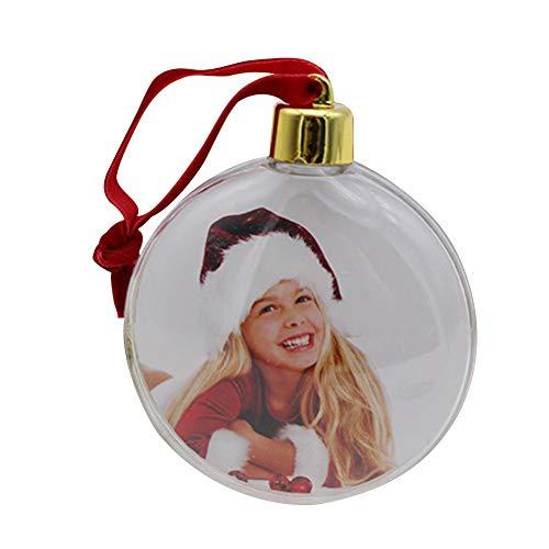 Ordertown Weihnachtsfoto-Rahmen-hängende Verzierungs-Dekoration, Runder Stern-Verzierungs-Bild-Foto-Rahmen-Geschenk-Familien-Gedächtnis-Weihnachtsbaum-hängender Dekor Kreis#