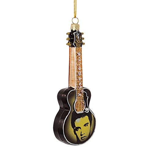 Kurt Adler 5-Inch Glass Elvis Printed Image Guitar Ornament