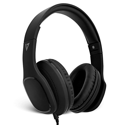 v7 bluetooth headphones wirelesses V7 HA701-3NP Over-Ear Headphones with Microphone and Volume Control, Foldable, Call Answering for Cellphones, Tablets, Smartphones, Laptop Computer, PC, Black