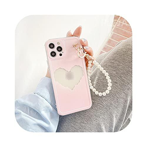 Carcasa para iPhone 12, con cadena y pulsera de perlas de amor rosa para iPhone 12 Mini 11 Pro XS Max 7 8 Plus X XR se 2020, correa de mano Mignons-Kl442-For-Iphone8Plus