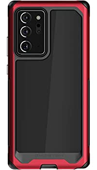 Ghostek Atomic Slim Note 20 Ultra Case Clear with Red Military Grade Aluminum Bumper Heavy Duty Protection with Rugged Shockproof Design Protective Cover 2020 Galaxy Note20 Ultra 5G  6.9 Inch  -  Red
