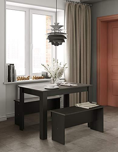 Table à Manger avec 2 Bancs, Panneaux de Particules Mélaminés, Noir et Béton, 111 x 70 x 73 cm (LxPxH)