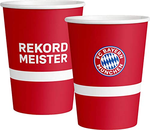 amscan 8 Partybecher * FC Bayern MÜNCHEN * zur Fussball-Party und Geburtstag | Fan FCB Fußball Kindergeburtstag Becher Cups Pappbecher