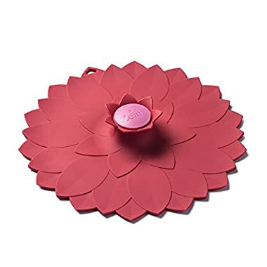 ZEAL Air Tight Push to Seal Silicone 9 inch Kitchen Lid - ECO Friendly - For use with pots, dishes, pans, Tupperware, leftovers, microwaves, stovetops - Red Flower Design