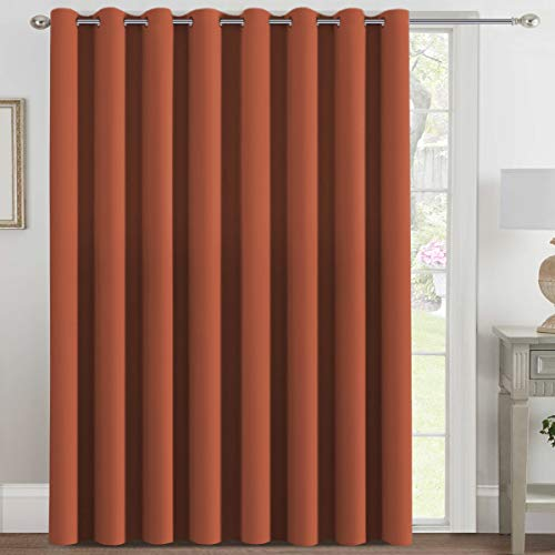 H.VERSAILTEX Blackout Patio Curtains 100 x 108 Inches for Sliding Door Extral Wide Blackout Curtain Panels Thermal Insulated Room Divider - Grommet Top, 9' Tall by 8.5' Wide - Orange Ochre
