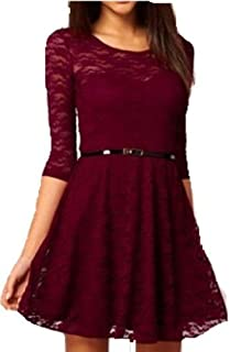 Women Lady Spoon Neck 3/4 Half Sleeve Lace Skater Dress Mini Dress Belt Include Vintage Dresses Gg0157 Wine Size L