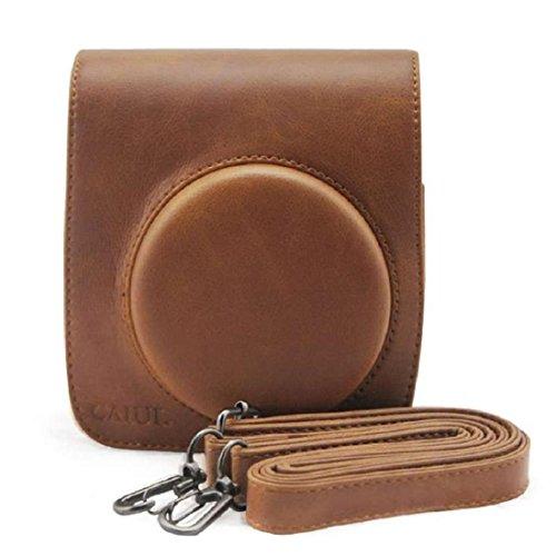 Vovotrade® Cassa del sacchetto di cuoio della macchina fotografica Supporto per Fuji Instax Mini90 FUJIFILM (colore marrone)