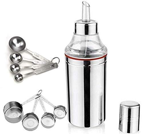 Kitchen Kemistry Premium Exotic Stainless Steel Oil Dispenser/Bottle 1000 ml with Measuring Cup - 4 pcs Set & Measuring Spoon 4 pcs Set