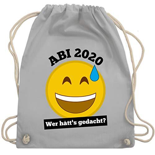 Shirtracer Abi & Abschluss - Emoticon - Abi 2020 - Wer hätt's gedacht? - Unisize - Hellgrau - abi geschenke - WM110 - Turnbeutel und Stoffbeutel aus Baumwolle