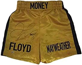 Floyd Mayweather Autographed/signed Yellow Boxing Trunks 19965 Money Bas - Beckett Authentication - Autographed Boxing Robes and Trunks