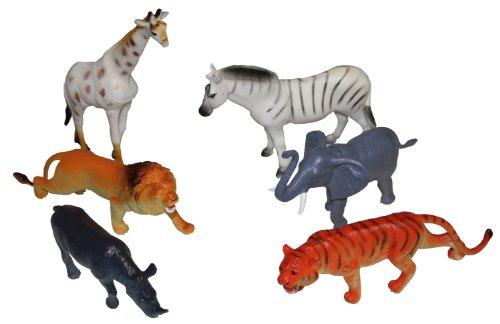 Idena 4329901 - Spielfigurenset mit 6 Zootieren, aus Kunststoff, jeweils ca. 15 cm groß, Spielspaß für die Badewanne, den Sandkasten, im Kindergarten und Kinderzimmer