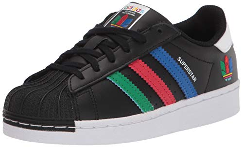 adidas Originals Kids' Superstar Sneaker, Black/Green/White 3.5 M US