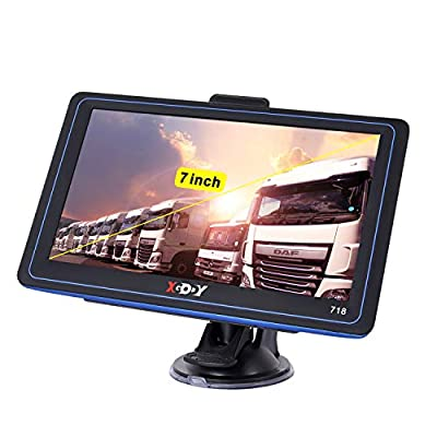 GPS Navigation for Car Truck Vehicles 7 inch Touch Screen Car GPS with Sunshade Xgody 8GB 256Mb Navigation with POI Speed Camera Warning Voice Guidance Lane Free Lifetime Map Updates