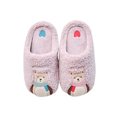 FeiFei156 Baumwolle Hausschuhe Cartoon Stickerei Nette Eltern-Kind-Plüsch Hause Indoor Rutschhemmende Warm Baumwolle Hausschuhe Anti Slip Slipper (Color : Pink, Size : XS)