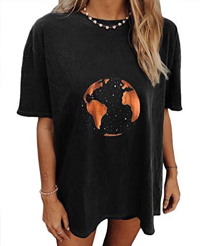 Tomwell Camiseta de Mujer Manga Corta,Animales Impresión Blusa Camisa Cuello Redondo Basica,Camiseta Suelto Verano Tops Casual Fiesta T-Shirt Original tee C Gris Oscuro H M