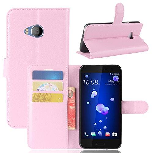 LMAZWUFULM Hülle für HTC U11 Life PU Leder Magnetverschluss Brieftasche Lederhülle Litschi Muster Standfunktion Ledertasche Flip Cover für HTC U11 Life Rose