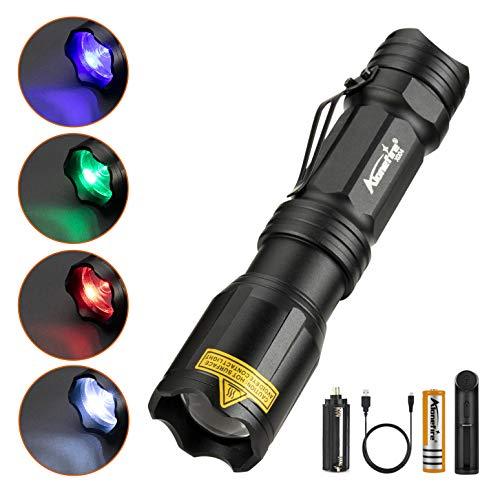 Alonefire X004 Linterna LED Colores RGB Blanco/Rojo/Verde/Azul Recargable Tactica Alta Potencia Impermeable Ampliable con 18650 Batería Incluida, Cargador de Batería para Acampar Policial Militar Caza 🔥