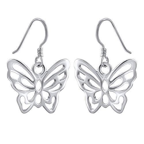 SILVEGO Pendientes para mujer de plata de ley 925 con diseño de mariposa.
