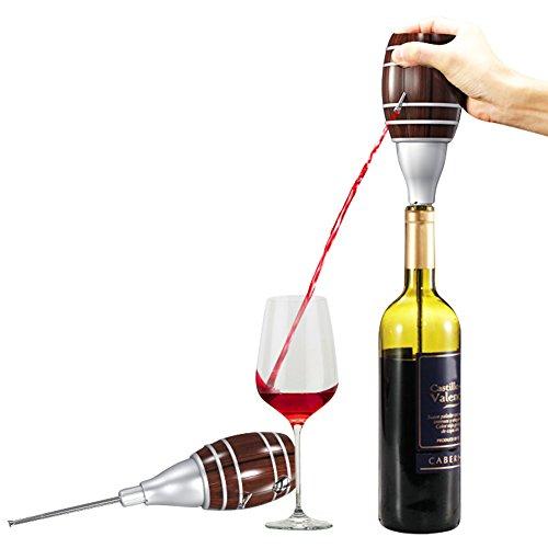Decantador de Vino Eléctrico Aireador de Vino, Famtasme Dispensador Escanciador de Vino de Sidra en Forma de Barril, con Varilla Telescopic, Nueva Bomba de Gran Capacidad, Portátil y Durable