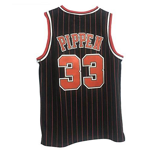 Scottie Pippen Herren Basketball Trikot Chicago Bulls, 33# Jugend Basketball Stickerei Weste 90er Hip Hop für Party Mesh T-Shirt Atmungsaktiv Schwitzen Gr. XXL, gestreift