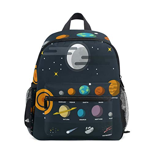 ISAOA Solar System Children's Backpack for Boys Girls,Kid's Schoolbag for Kindergarten Preschool Toddler Baby Nursery Travel Bag with Chest Clip