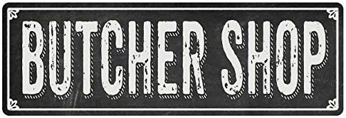 Diuangfoong Letrero de metal con pizarra negra estilo Shabby Chic de BUTCHER SHOP 10 x 45 cm