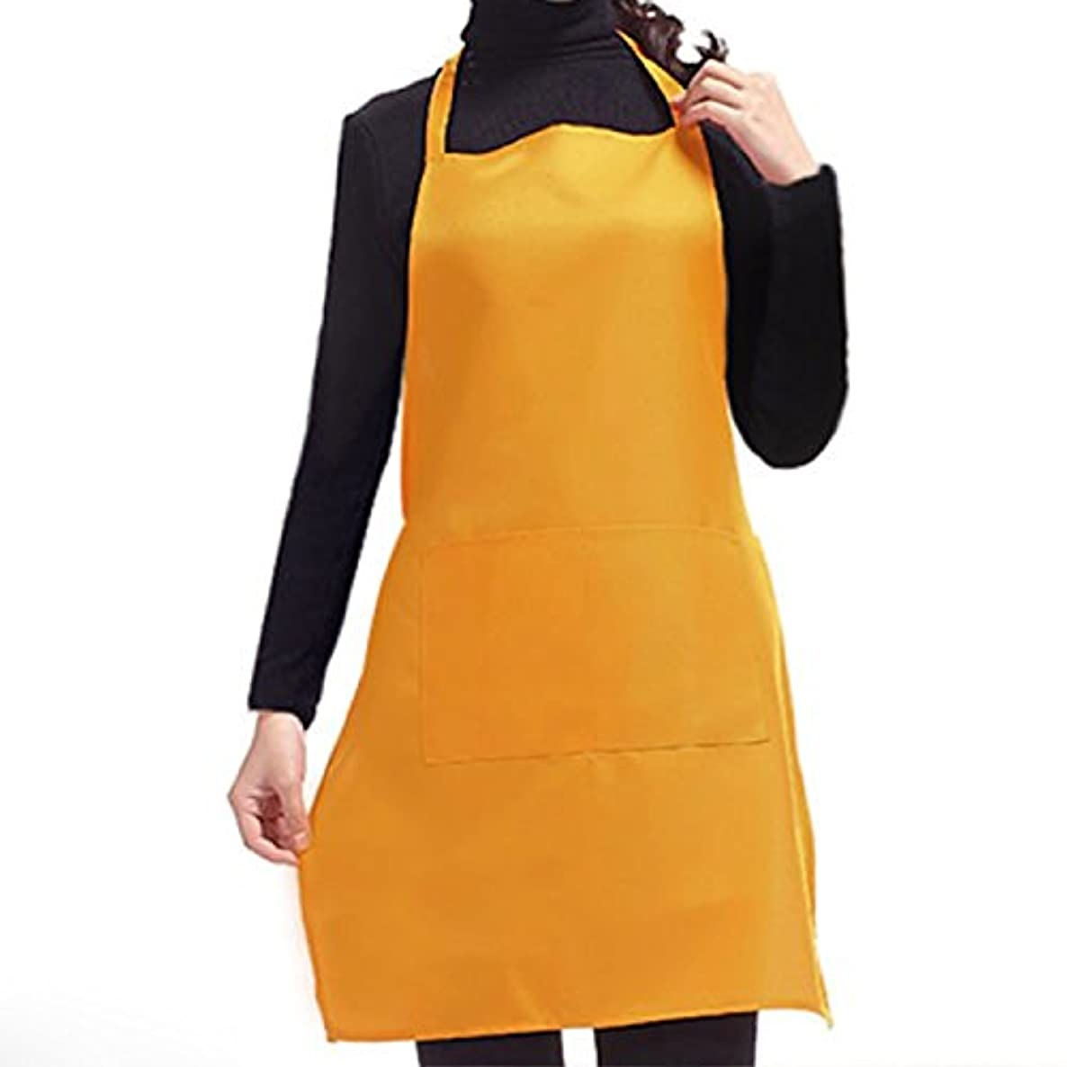 Youareking Unisex Fashion Working Chefs Kitchen Cooking Cook with Pockets Design for Husband Wife Daughters Men Ladies (yellow)