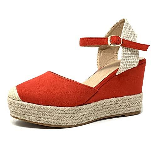 Angkorly - Dames Mode Schoenen Sandalen Espadrilles - Grote Zool - Open-Back - Enkelband - Eenvoudige Basic - Met Rietje - Gevlochten Wedge Platform 9,5 cm