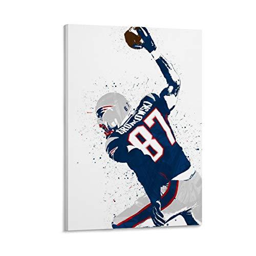 QWSDE Poster, Motiv: American Football Player Rob Gronkowski, Sportposter, Leinwandkunst, Poster und Wandkunst, Kunstdruck, moderne Familie, Schlafzimmer, Dekoration, Poster, 30 x 45 cm