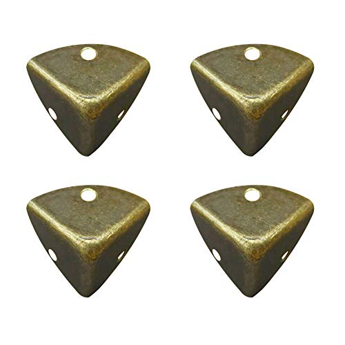 Lzttyee 4 Pack Iron Bronze Vintage Brass Edge Guard Box Corner Cover Protectors Furniture Decor (Bronze 2)