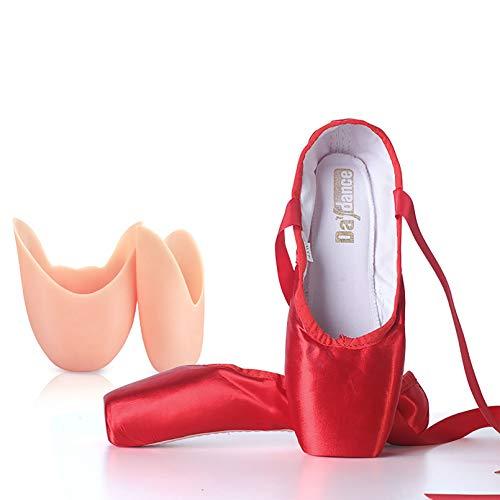 XXXZZL Chausson de Danse Classique Pointe Chaussures de Ballet Satin Élastique Bande et Protège-Orteils pour Ballerines Fille Femme(Prendre Une Taille au Dessus),Rouge,35