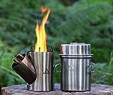 Arnaud Kombuis - Portable rocket stove & cooking set, camping cooking set, wood