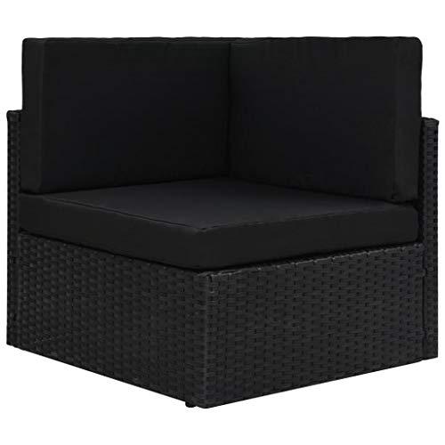 vidaXL Ecksofa Modular mit Auflagen Gartenmöbel Sofa Gartensofa Rattansofa Rattanmöbel Lounge Sessel Ecksessel Poly Rattan Stoff Stahl Schwarz