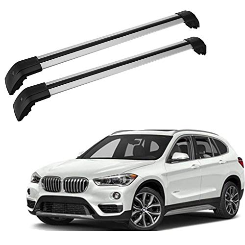 MotorFansClub Cross Bars Roof Rack for BMW X1 2010-2017,Top Crossbars Luggage Cargo Rail Aluminum