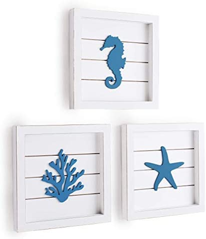 TideAndTales Beach Wall Decor Sea Life Framed Wooden Set with 3D Starfish Seahorse and Coral product image
