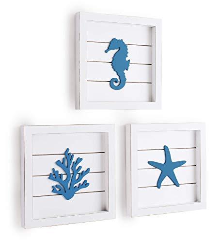 TideAndTales Coastal Blue Beach Wall Decor 3D Art with Starfish, Seahorse and Coral - Elegant Framed Ocean Theme Beach Bathroom Decor - Beach Decorations for Home