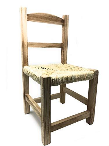 Vetrineinrete Sediolina per bambini antiscivolo in legno con seduta in paglia vimini sedia per bimbi baby metodo montessori 50 cm 3030 P24