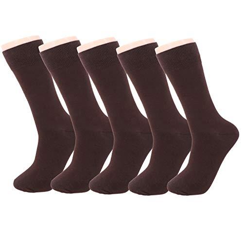 HeyUU 5 pares de calcetines de negocios para hombre, de algodón, sin costuras apretadas, comodidad perfecta y agarre en negro o marrón, para trabajo, reuniones, ocio 5x Braun 43-46