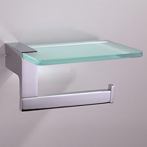ThingsSoPerfect Edelstahl Design Toilettenpapierhalter mit Glasablage