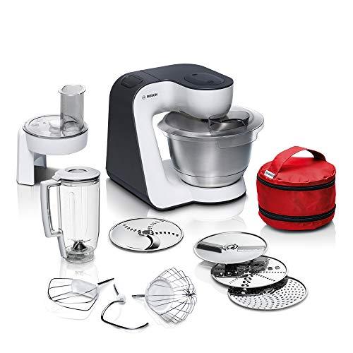 Bosch MUM5 StartLine Küchenmaschine MUM50E32DE, vielseitig einsetzbar, große Edelstahl-Schüssel (3,9l), spülmaschinenfest, Mixer, Durchlaufschnitzler, 800 W, weiß/schwarz