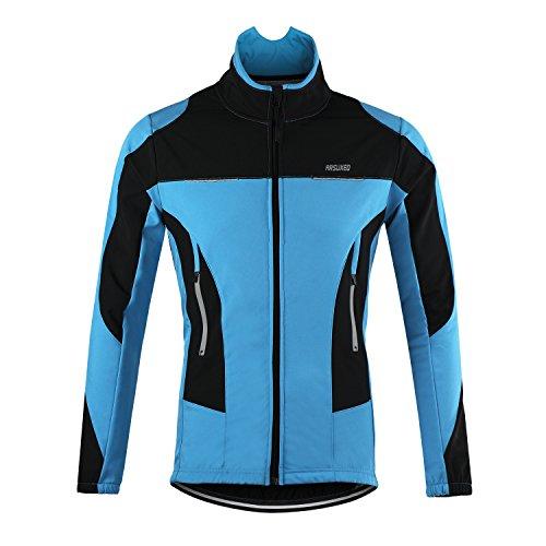 d.Stil Giacca Ciclismo Uomo Invernale Impermeabile Antivento Traspirante A Maniche Ultraleggera MTB Windstopper Lunghe (Blu, M)