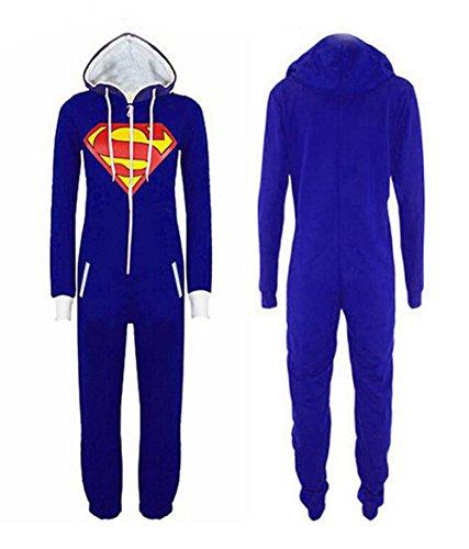 OMSLIFE Herren Damen Overalls Batman Overall Jumpsuit Superman & Batman Hoodie Hoody Sweatshirt (Blau) - 2