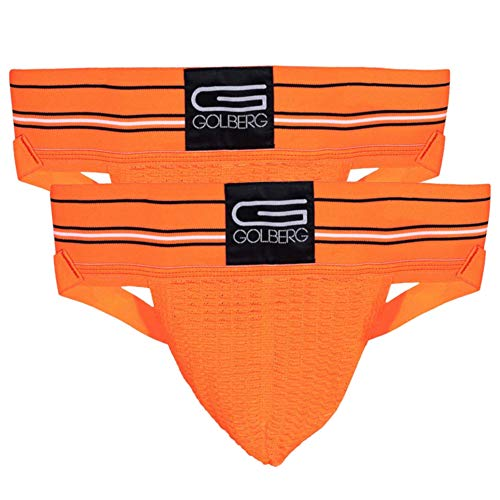 GOLBERG G Men's Athletic Supporters (2 Pack, Orange, Large) - Jock Strap Underwear - Extra Strength Elastic
