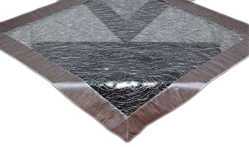 Tischdecke 110x110 cm modern Organza dunkelgrau Mitteldecke mit Satinrand ausgefallene STICKEREI Knötchen