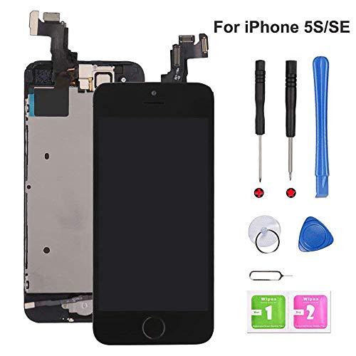 EXW Écran LCD Tactile de Remplacement pour iPhone 5S, modèle Complet avec Bouton Home, caméra Frontale et capteur de proximité, Haut Parleur Interne, Outils de réparation complets